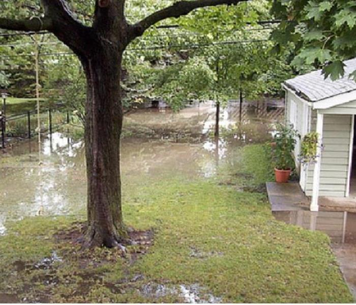 A yard flooded by water